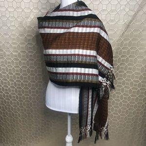 Big Wrap scarf ~ Fall colors ~Braided fringed edge